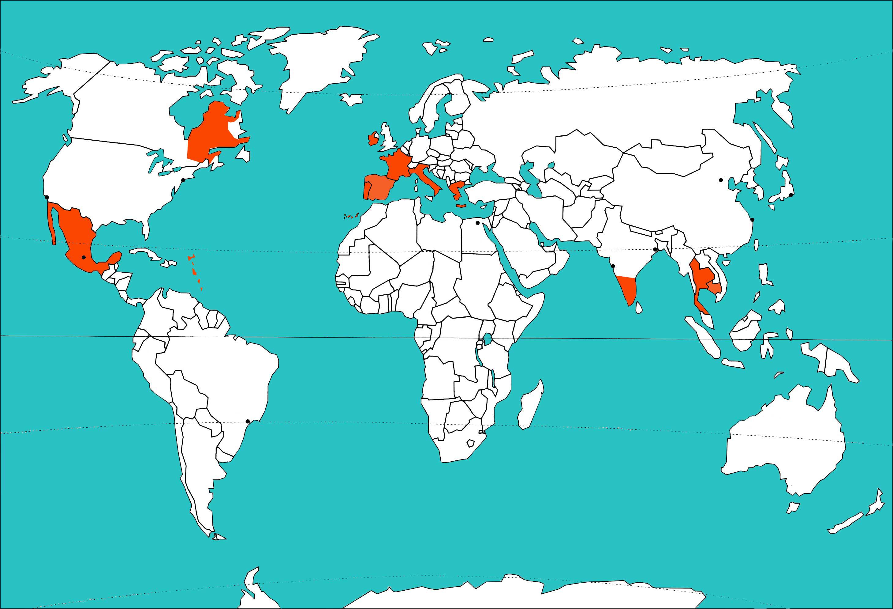 Carte du monde des voyages